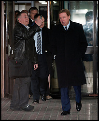 Tottenham manager Harry Redknapp leaving Southwark Crown court with his son Jamie after being found 'Not guilty' of evading tax to the Inland Revenue, Wednesday February 8th, 2012. Photo By i-Images