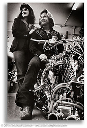 Arlen Ness with his wife Bev on Two Bad twin engine custom Sportster with center-hub steering shortly after its debut, California. ©1977 Ness Family Archive Photo