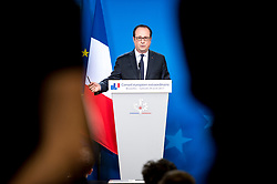 April 29, 2017 - Brussels, Belgium - French President Francois Hollande holds a press conference during  the European Summit on Article 50 Brexit at European Council headquarters in Brussels. (Credit Image: © Wiktor Dabkowski via ZUMA Wire)