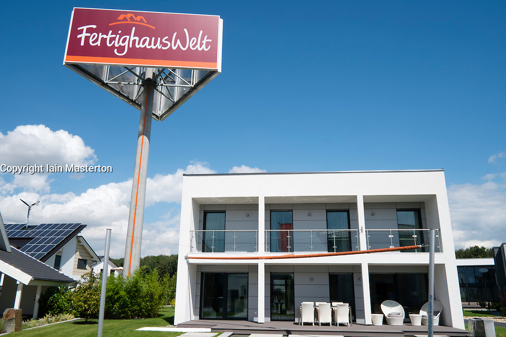 Modern highly energy efficient family house  in kit home display park in Cologne Germany