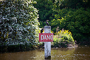 Cormorant birds on Danger sign on the River Thames in Berkshire, UK