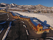 SHOT 3/2/17 7:45:49 AM - Aerial photos of Park City, Utah. Park City lies east of Salt Lake City in the western state of Utah. Framed by the craggy Wasatch Range, it's bordered by the Deer Valley Resort and the huge Park City Mountain Resort, both known for their ski slopes. Utah Olympic Park, to the north, hosted the 2002 Winter Olympics and is now predominantly a training facility. In town, Main Street is lined with buildings built primarily during a 19th-century silver mining boom that have become numerous restaurants, bars and shops. (Photo by Marc Piscotty / © 2017)