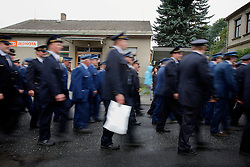 CZECH REPUBLIC VYSOCINA NEDVEZI 30JUL11 - CZECH REPUBLIC VYSOCINA NEDVEZI 30JUL11 -Voluntary firemen from neighbouring villages march during a gathering of fire crews in the village of Nedvezi, Vysocina, Czech Republic...This year marks the 120th anniversary of the voluntary firemen in Nedvezi, Vysocina, Czech Republic.....jre/Photo by Jiri Rezac....© Jiri Rezac 2011