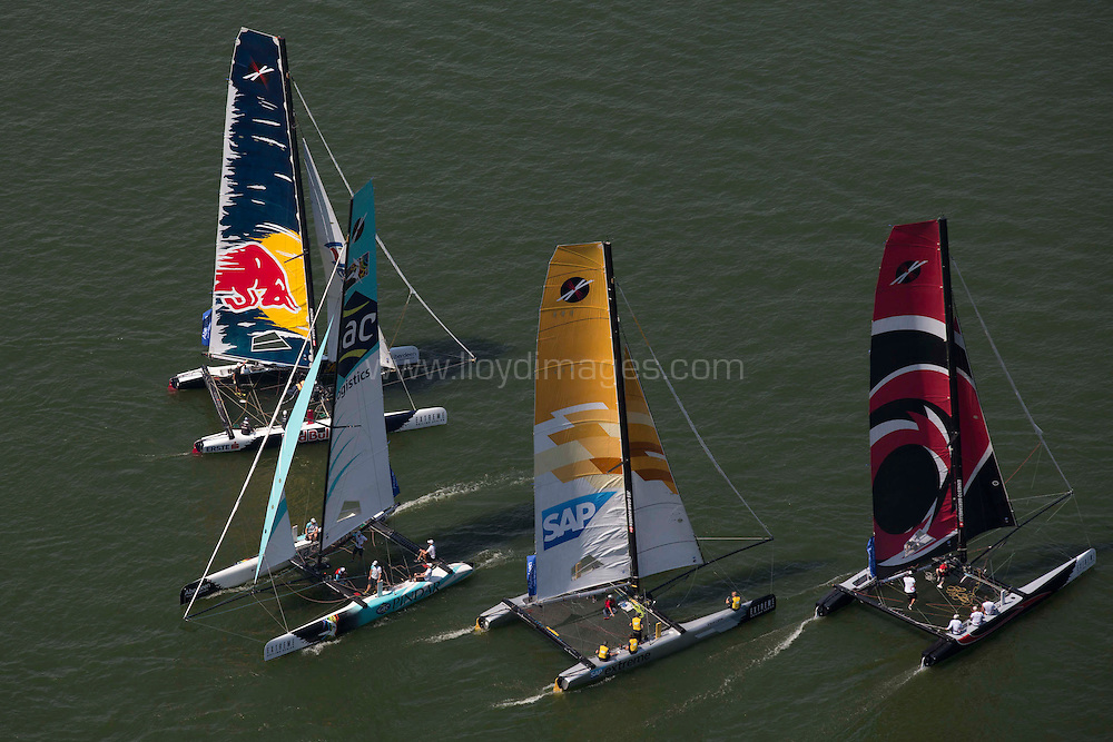 The Extreme Sailing Series 2013. Act2. Singapore. Day 3 of racing.Please credit: Lloyd Images