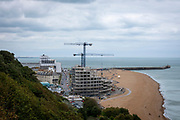 Construction cranes working on Folkestone seafront development on the 15th of July 2021, Folkestone, United Kingdom. The development consisting of 84 homes is right on the beachfront towards the western end of the beach close to the Lower Leas coastal path and the Leas lift. (photo by Andrew Aitchison / In pictures via Getty Images) (photo by Andrew Aitchison / In pictures via Getty Images)