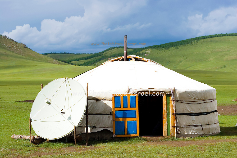 TV Satellite dish antenna, at a Ger, Rural Mongolia