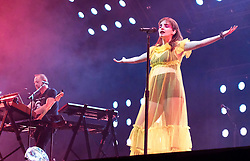 """Chvrches, Love Is Dead Tour, Glasgow Hydro, Saturday 16th February 2019<br /> <br /> Scottish band Chvrches performed at the SSE Hydro in Glasgow as part of their """"Love Is Dead"""" tour celebrating their third album of the same name.<br /> <br /> The band consists of Lauren Mayberry (singer), Iain Cook (synthesizers and guitars) and Martin Doherty (synthesizers)<br /> <br /> Pictured: Lauren Mayberry and Martin Doherty<br /> <br /> Aimee Todd 