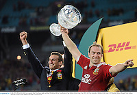 6 July 2013; British & Irish Lions captains Alun Wyn Jones, right, and Sam Warburton lift the Tom Richards Cup. British & Irish Lions Tour 2013, 3rd Test, Australia v British & Irish Lions. ANZ Stadium, Sydney Olympic Park, Sydney, Australia. Picture credit: Stephen McCarthy / SPORTSFILE