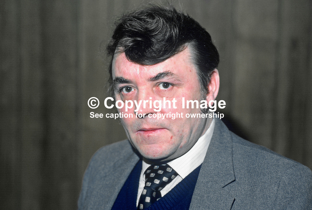 Tommy Lyttle, spokesman, Ulster Defence Association, UDA, West Belfast, N Ireland, UK, 19840031TL.<br /> <br /> Copyright Image from Victor Patterson, Belfast, UK<br /> <br /> t: +44 28 9066 1296 (from Rep of Ireland 048 9066 1296)<br /> m: +44 7802 353836<br /> e: victorpattersonbelfast@gmail.com<br /> <br /> www.images4media.com<br /> <br /> Please see my full Terms and Conditions of Use at https://www.images4media.com/p/terms-conditions - it is IMPORTANT that you familiarise yourself with them.<br /> <br /> Images used online incur an additional cost. This cost should be agreed in writing in advance. Online images must be visibly watermarked i.e. © Victor Patterson or that of the named photographer within the body of the image. The original metadata must not be deleted from images used online.<br /> <br /> This image is only available for the use of the download recipient i.e. television station, newspaper, magazine, book publisher, etc, and must not be passed on to a third party. It is also downloaded on condition that each and every usage is notified within 7 days to victorpattersonbelfast@gmail.com.<br /> <br /> The right of Victor Patterson (or the named photographer) to be identified as the author is asserted in accordance with The Copyright Designs And Patents Act (1988). All moral rights are asserted.