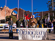31 OCTOBER 2010 - WINDOW ROCK, AZ:   State Rep. Tom Chabin (CQ) speaks at a Democratic rally in Window Rock with Terry Goddard and the other Democrats on the statewide ticket. Goddard, and the other Democrats on the statewide ticket, campaigned in Window Rock and Kingman on Halloween. Goddard ended the day with a press conference in front of the Executive Office Tower at the State Capitol in Phoenix. Goddard lost the election to sitting Governor Jan Brewer, a conservative Republican.     PHOTO BY JACK KURTZ