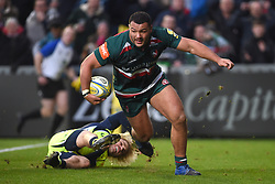 Leicester Tigers' Ellis Genge crosses to score his teams second try during the Aviva Premiership match at Welford Road, Leicester.
