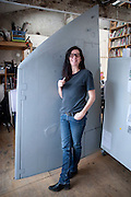 Fiona Banner in her studio, London. 7 January 2010. *** Local Caption *** -DO NOT ARCHIVE-© Copyright Photograph by Dafydd Jones. 248 Clapham Rd. London SW9 0PZ. Tel 0207 820 0771. www.dafjones.com.<br /> Fiona Banner in her studio, London. 7 January 2010.