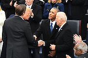 President Donald Trump thanks former Vice President Joe Biden as Eric Trump thanks former President Barack Obama following Inaugural ceremony after being sworn-in as the 45th President on Capitol Hill January 20, 2017 in Washington, DC.