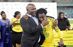 20112018 (Durban)<br /> A goalscorer Percy Tau and Pitso Mosimane celebrates during a mactch were Bafana Bafana and Paraguay have drawn 1-1 in the Nelson Mandela Challenge match played at Moses Mabhida Stadium in Durban on Tuesday evening.<br /> Picture: Motshwari Mofokeng/African News Agency (ANA)