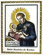 St Stanislas (Stanislaus) of  Kostka (c1550-1591) Polish saint. French 19th century coloured woodcut.