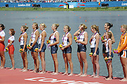 Eton Dorney, Windsor, Great Britain,..2012 London Olympic Regatta, Dorney Lake. Eton Rowing Centre, Berkshire[ Rowing]...Description;   USA W8+ Gold Medalist. .Erin CAFARO (b) , Zsuzsanna FRANCIA (2) , Esther LOFGREN (3) , Taylor RITZEL (4) , Meghan MUSNICKI (5) , Eleanor LOGAN (6) , Caroline LIND (7) , Caryn DAVIES (s) , Mary WHIPPLE (c)..Dorney Lake. 13:12:01  Thursday  02/08/2012.  [Mandatory Credit: Peter Spurrier/Intersport Images]...Venue, Rowing, 2012 London Olympic Regatta...