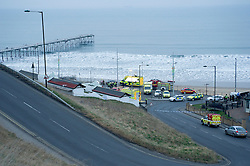 © Licensed to London News Pictures. 13/03/2012. Saltburn, England. Police and emergency response units on the seafront at Saltburn, Cleveland today (13/02/2012) where armed police surrounded a person suspected of carrying a bomb in a bag. Photo credit : Ian Forsyth/LNP