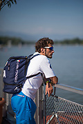 Plovdiv BULGARIA. 2017 FISA. Rowing World U23 Championships.  Italian Team Member looking over the Boating Area.<br /> <br /> Wednesday. AM, general Views, Course, Boat Area<br /> 09:41:17  Wednesday  19.07.17   <br /> <br /> [Mandatory Credit. Peter SPURRIER/Intersport Images].