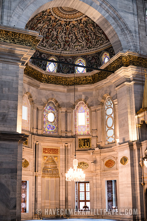 The large, decorated mihrab (niche) inside the Nuruosmaniye Mosque, ornately decorated in Ottomon-Baroque style. Nuruosmaniye Mosque, standing next to Istanbul's Grand Bazaar, was completed in 1755 and was the first and largest mosque to be built in Ottoman Baroque style.