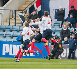 Falkirk's Mark Beck cele scoring their goal.<br /> half time : Dundee 0 v 1 Falkirk, Scottish Championship game played today at Dundee's Dens Park.<br /> © Michael Schofield.