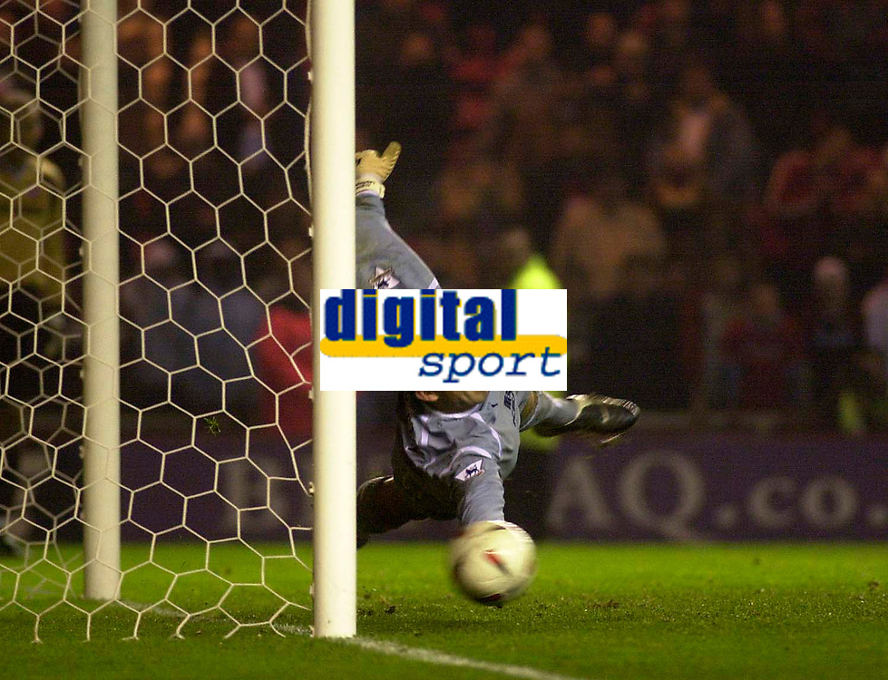 Photo. Glyn Thomas.<br /> Middlesbrough v Everton. Carling Cup Round 4.<br /> Riverside Stadium, Middlesbrough. 03/12/2003.<br /> Everton's Nigel Martyn fails to save a penalty from Maccarone.