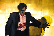 Scottish Opera's production of Richard Wagner's 'Siegfried', the third part of the 'Ring Cycle' which is being staged in successive years on the Edinburgh International Festival. Picture shows the death throes of Fafner (Markus Hollop) - a giant who has transformed himself into a dragon - having been stabbed by Siegfried, in a scene from Act II.........