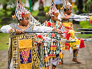 19 JULY 2016 - TAMPAKSIRING, GIANYAR, BALI, INDONESIA: Dancers perform on the first day of a ceremony to honor the anniversary Pura Agung temple, one of the most important Hindu temples on Bali. This year's ceremony is the most important in years because it falls on the 50 year cycle of the temple's founding. This year's ceremony lasts for 11 days.      PHOTO BY JACK KURTZ
