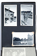vintage photo album page with images of new housing development 1950s England