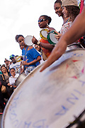 Drumming at a Protest in Copacabana, Rio de Janiero, in response to the mysterious death of professional dancer Douglas Rafael da Silva Pereira, allegedly at the hands of the Police. The favela Pavao-Pavaozinho that sits in between Copacabana and Ipanema. These protests saw a rare solidarity between the mostly middle class black bloc movement and members of the favela community.
