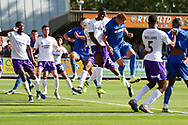 Possible own goal or goal by AFC Wimbledon defender Archie Procter (35)during the EFL Sky Bet League 1 match between AFC Wimbledon and Shrewsbury Town at the Cherry Red Records Stadium, Kingston, England on 14 September 2019.