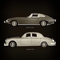 For the lover of old classic cars, this combination of a Jaguar E Type 1960 and Jaguar MK-2 1963 is truly a beautiful work to have in your home.<br /> The classic Jaguar E Type and the beautiful Jaguar MK-2 are among the most beautiful cars ever built.<br /> You can have this work printed in various materials and without loss of quality in all formats.<br /> For the oldtimer enthusiast, the series by the artist Jan Keteleer is a dream come true. The artist has made a fine selection of the very finest cars which he has meticulously painted down to the smallest detail. – –<br /> -<br /> <br /> BUY THIS PRINT AT<br /> <br /> FINE ART AMERICA<br /> ENGLISH<br /> https://janke.pixels.com/featured/jaguar-e-type-1960-and-jaguar-mk-2-1963-jan-keteleer.html<br /> <br /> WADM / OH MY PRINTS<br /> DUTCH / FRENCH / GERMAN<br /> https://www.werkaandemuur.nl/nl/werk/Jaguar-E-Type-1960-en-Jaguar-MK-2-1963/757755/93?mediumId=1&size=60x60<br /> –