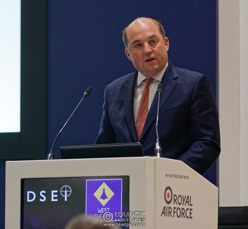 London, United Kingdom - 11 September 2019<br /> The Rt Hon Ben Wallace MP. Secretary of State for Defence for the UK Government presents keynote address speech to audience at DSEI 2019 security, defence and arms fair at ExCeL London exhibition centre.<br /> (photo by: EQUINOXFEATURES.COM)<br /> Picture Data:<br /> Photographer: Equinox Features<br /> Copyright: ©2019 Equinox Licensing Ltd. +443700 780000<br /> Contact: Equinox Features<br /> Date Taken: 20190911<br /> Time Taken: 12422723<br /> www.newspics.com
