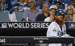 October 24, 2017 - Los Angeles, California, U.S. - Los Angeles Dodgers' Justin Turner in the eighth inning of game one of a World Series baseball game against the Houston Astros at Dodger Stadium on Tuesday, Oct. 24, 2017 in Los Angeles. Dodgers won 3-1. (Photo by Keith Birmingham, Pasadena Star-News/SCNG) (Credit Image: © San Gabriel Valley Tribune via ZUMA Wire)