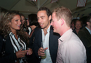 JESSICA LANE; JAMES MIDDLETON; GUY PELLY, Charlie Gilkes and Duncan Stirling host Inception Group's Hamptons Garden party on the rooftop garden of the Ballymore marketing suite overlooking the site of the new US embassy. Embassy Gardens, London SW8.  12 July 2012.