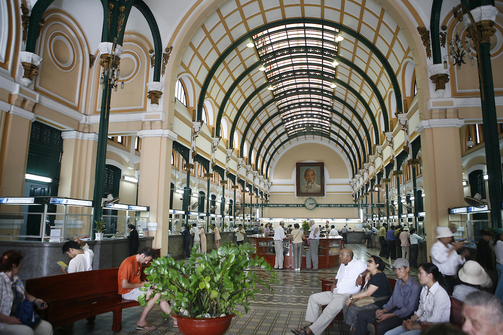 Ho Chi Minh City (Saigon), Vietnam. .March 16th 2007..The Post Office of Ho Chi Minh City.