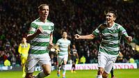 23/10/14 UEFA EUROPA LEAGUE<br /> CELTIC v FC ASTRA GIURGIU<br /> CELTIC PARK - GLASGOW<br /> Celtic's Stefan Johansen (left) celebrates his goal with team-mate Stefan Scepovic