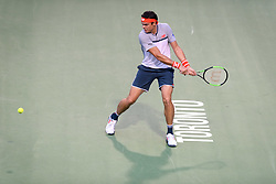August 6, 2018 - Toronto, ON, U.S. - TORONTO, ON - AUGUST 06: Milos Raonic (CAN) returns the ball during his first round match of the Rogers Cup tennis tournament on August 6, 2018, at Aviva Centre in Toronto, ON, Canada. (Photograph by Julian Avram/Icon Sportswire) (Credit Image: © Julian Avram/Icon SMI via ZUMA Press)