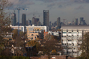 The capital rises in the background from suburban flats and houses Brockwell Park on 18th November 2016, in Herne Hill, Lambeth SE24 south London, England.