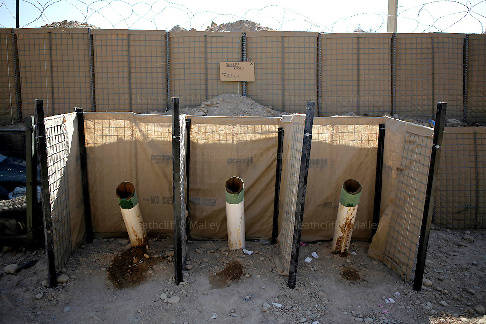 """Mcc0018106 . SundayTelegraph..""""Desert Rose"""" urinals made from mortar carrying tubes at FOB Shahzad, Helmand province...Afghanistan 14 November 09."""