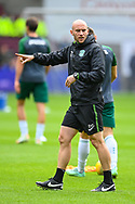 Hibs coach David Gray before the Cinch SPFL Premiership match between Heart of Midlothian and Hibernian at Tynecastle Park, Edinburgh, Scotland on 12 September 2021.