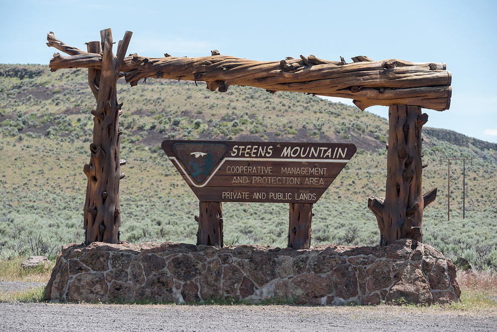 Entrance sign to the  Steens Mountain Cooperative Management & Protection Area in Eastern Oregon.
