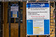 Belleville school at least has some messages saying if you have symptoms, stay away, while most Primary/Prep schools in the Clapham/Battersea area show few sign of social distancing preparation, given that many are supposed to re-open in  alimited sense tomorrow - The 'lockdown' continues for the Coronavirus (Covid 19) outbreak in London.