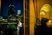 A bride and groom at the XIX Restaurant - The Bellevue Philadelphia in Philadelphia, Pennsylvania.