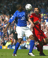 Photo Aidan Ellis.<br />Everton v Liverpool (FA Barclaycard Premiership)<br />19/04/2003.<br />Liverpool's Milan Baros and Everton's Joseph Yobo