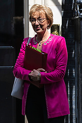 © Licensed to London News Pictures. 21/05/2019. London, UK. Leader of the House of Commons Andrea Leadsom leaves 10 Downing Street after the Cabinet meeting. Prime Minister Theresa May is expected to make a statement to Paliament outlining changes to the Withdrawal Agreement Bill before it is brought back before Parliament. Photo credit: Rob Pinney/LNP