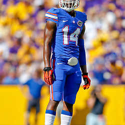 Oct 12, 2013; Baton Rouge, LA, USA; Florida Gators defensive back Jaylen Watkins (14) against the LSU Tigers during the first half of a game at Tiger Stadium. Mandatory Credit: Derick E. Hingle-USA TODAY Sports