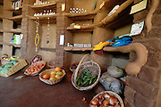 Israel, Ecological farm, The farms organic produce on sale House built from mud