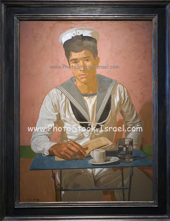 Yannis Tsarouchis (1910 - 1989), Sailor Sitting at the Table, Pink Background, <br /> 1980, Oil on canvas laid down on board, 100 × 73 cm at The Goulandris Museum of Contemporary Art is a modern art museum in Eratosthenous Street, Pangrati, Athens, Greece, opened in October 2019.