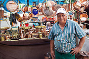 Market trader in front of his stall, San Telmo market, Buenos Aires, Federal District, Argentina.