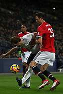 Harry Kane of Tottenham Hotspur (L) battles with Nemanja Matic of Manchester United (R). Premier league match, Tottenham Hotspur v Manchester Utd at Wembley Stadium in London on Wednesday 31st January 2018.<br /> pic by Steffan Bowen, Andrew Orchard sports photography.